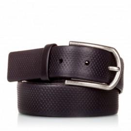 Cinturón grabado de piel negro