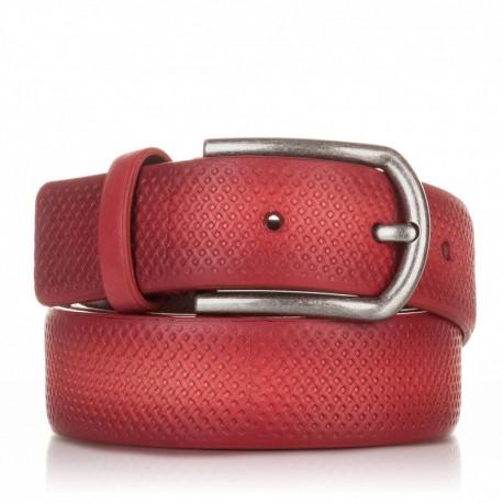 1002-35-KG-RJ Cinturón grabado de piel rojo