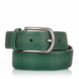 Cinturón grabado de piel verde