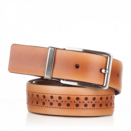 1003-35-KG-CA Cinturón con picados de piel camel