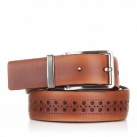 1003-35-KG-CU Cinturón con picados de piel cuero