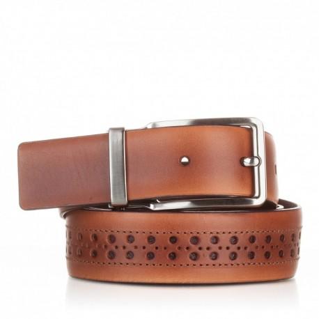 Cinturón con picados de piel cuero