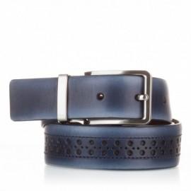 1003-35-KG-MR Cinturón con picados de piel azul marino