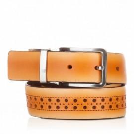 1003-35-KG-MS Cinturón con picados de piel mostaza
