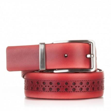 1003-35-KG-RJ Cinturón con picados de piel rojo