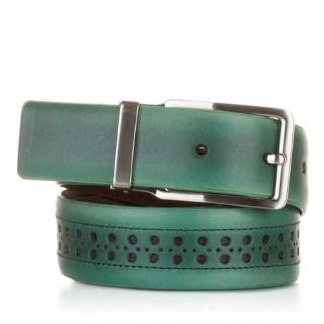 1003-35-KG-VE Cinturón con picados de piel verde