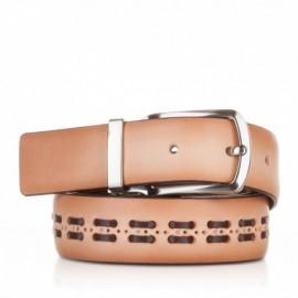 1004-35-KG-CA Cinturón con pasados de piel camel