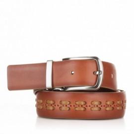 1004-35-KG-CU Cinturón con pasados de piel cuero