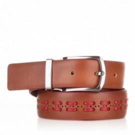 1004-35-KG-CU-RJ Cinturón con pasados de piel cuero-rojo