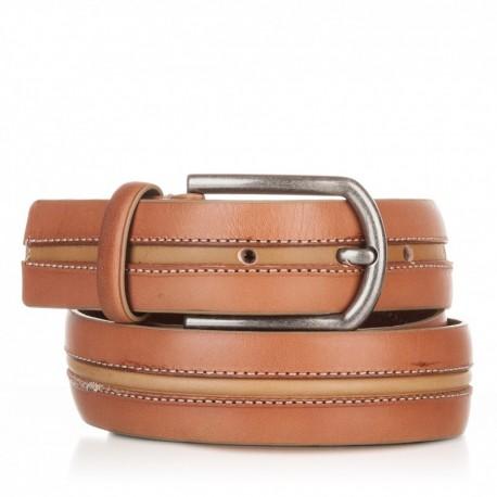1005-35-KG-CU-MO Cinturón con pasado central de piel cuero-mostaza