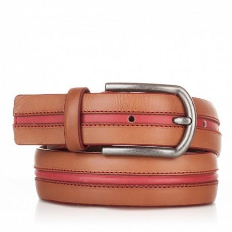 1005-35-KG-CU-RO Cinturón con pasado central de piel cuero-rojo