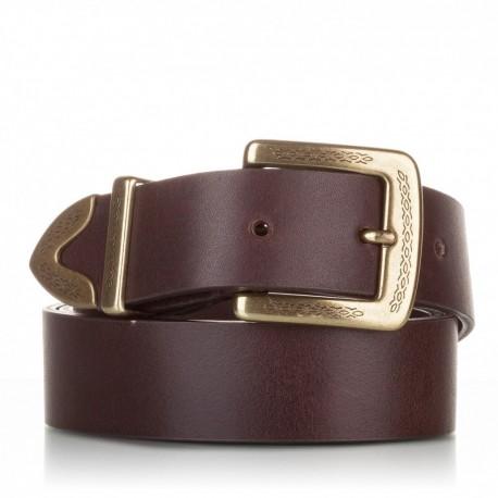 Cinturón de piel al corte marrón