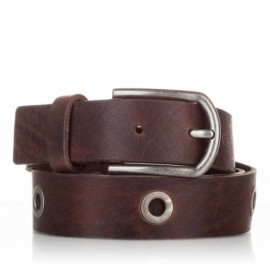 Cinturón de piel envejecida marrón