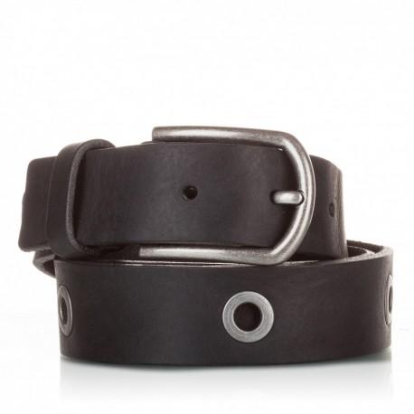 Cinturón de piel envejecida negro