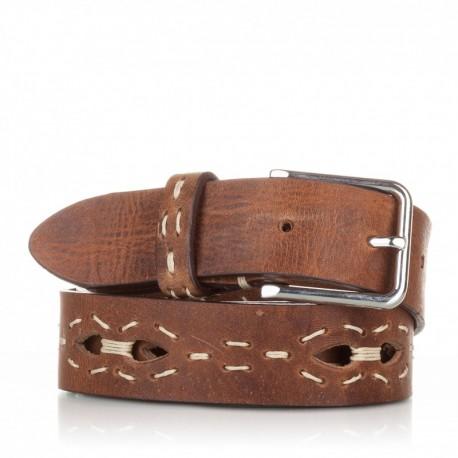 1009-35-KG-CU Cinturón con picados y pasados de piel cuero