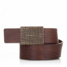 Cinturón de piel al corte envejecida marrón