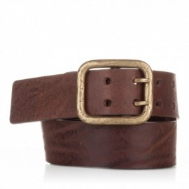 Cinturón hebilla doble piel envejecida marrón