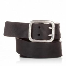 Cinturón hebilla doble piel envejecida negro