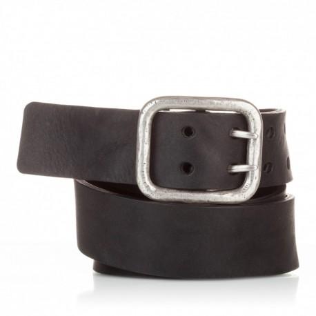 1011-40-KG-NG Cinturón hebilla doble piel envejecida negro