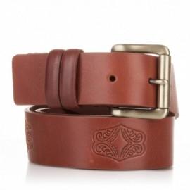 1012-40-KG-CU Cinturón grabado de piel al corte cuero