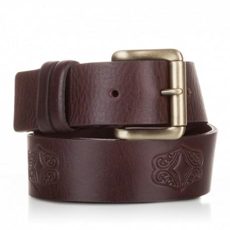 1012-40-KG-MA Cinturón grabado de piel al corte marrón