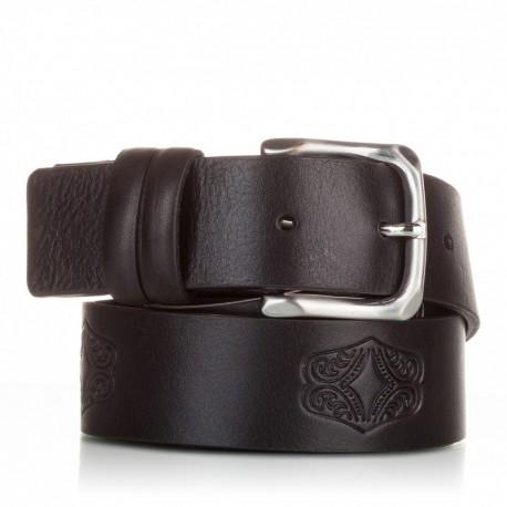 1012-40-KG-NG Cinturón grabado de piel al corte negro