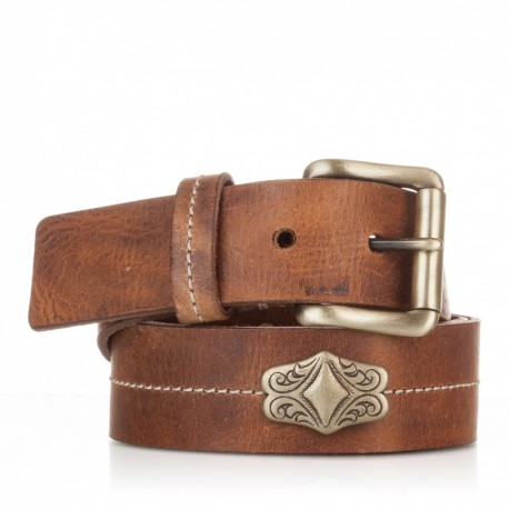 1013-40-KG-CU Cinturón con adorno piel al corte cuero