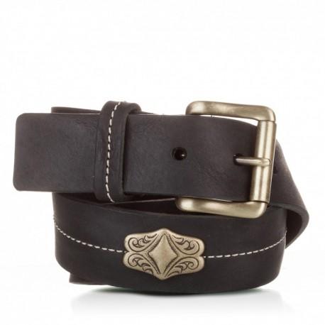 1013-40-KG-NG Cinturón con adorno piel al corte negro