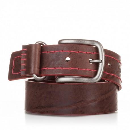 1015-40-KG-MA Cinturón cosido de piel marrón