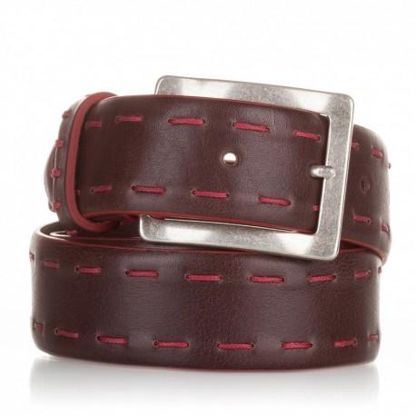 Cinturón ensamblado con cosidos piel marrón