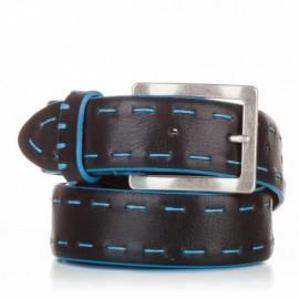 1017-40-KG-NG Cinturón ensamblado con cosidos piel negro