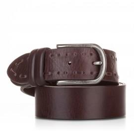 1018-40-KG-MA Cinturón ensamblado y pasado piel marrón