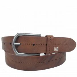 1026-35-KG-CU Cinturón de piel, grabado con pespuntes sin hilo