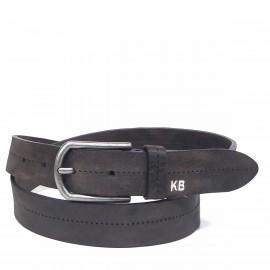 1026-35-KG-MA Cinturón de piel, letras KB grabadas con hilo