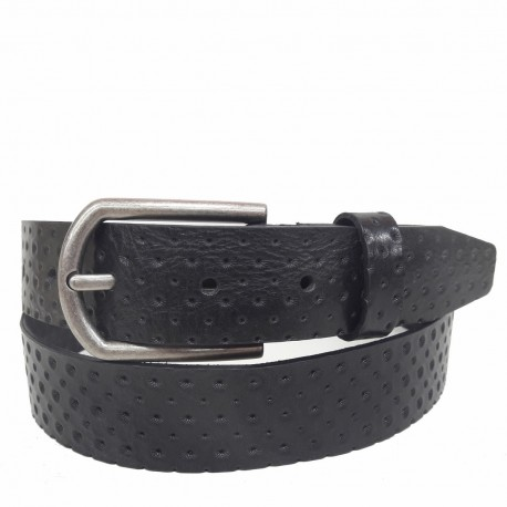 1027-35-KG-NG Cinturón grabado de piel NEGRO