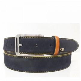 1024-35-KG-MR Cinturón de serraje con pespuntes Amarillo