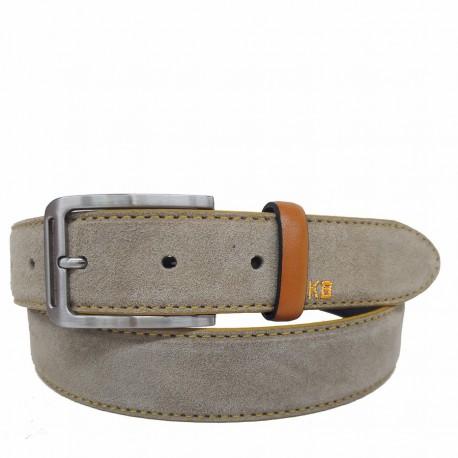 1024-35-KG-TA Cinturón de serraje con pespuntes Amarillo