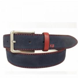 1025-35-KG-MR Cinturón de serraje con pespuntes Rojo