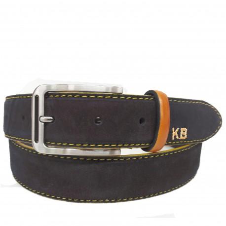 1024-35-KG-MARRÓN Cinturón de serraje con pespuntes Amarillo