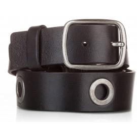 Cinturón al corte con ojetes piel negro