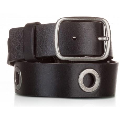 1019-40-KG Cinturón al corte con ojetes piel negro