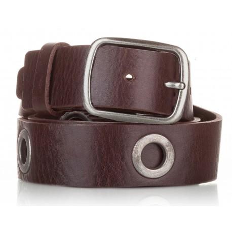 1019-40-KG-MA Cinturón al corte con ojetes piel marrón