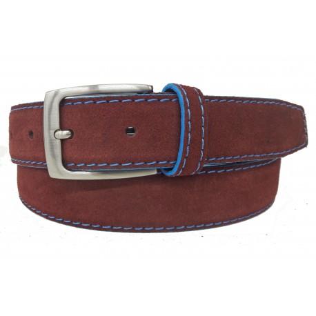 5146-35-KG-BU Cinturón de piel serraje Burdeos
