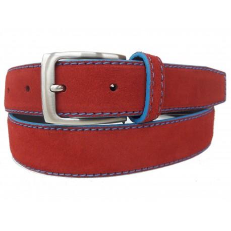 5146-35-KG-RJ Cinturón de piel serraje Rojo