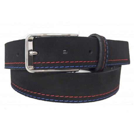5461-35-KG-NG Cinturón de piel serraje Negro