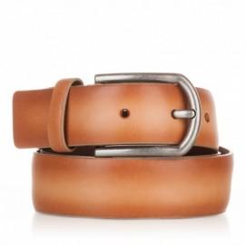 Cinturón liso de piel camel