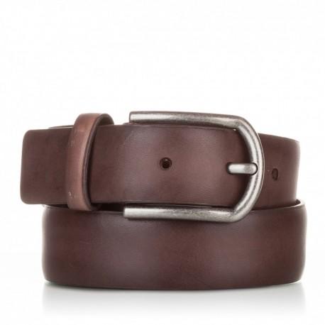 1001-35-KG-MA Cinturón liso de piel marrón