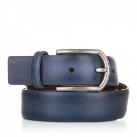 1001-35-KG-MR Cinturón liso de piel azul marino