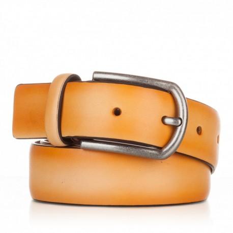 1001-35-KG-MS Cinturón liso de piel mostaza