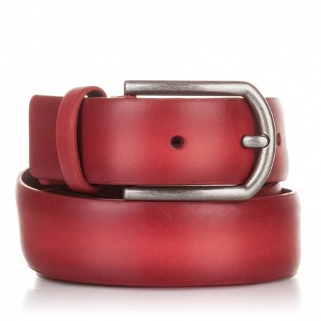 1001-35-KG-RJ Cinturón liso de piel rojo